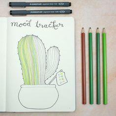 """167 Likes, 10 Comments - Marie (@buujoolove) on Instagram: """"Hier habe ich eine kleine Idee für einen Moodtracker. Ein süßer Kaktus. Jede """"Rille"""" ist ein Tag :3…"""""""