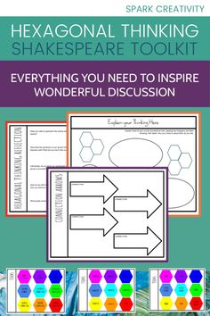 Want to get started with hexagonal thinking activities for the Shakespeare play you teach but feeling overwhelmed? In this kit, you'll find editable hexagons already labeled with suggested categories, examples to show students how to connect with depth, two ways to help students demonstrate their thinking, and a student reflection sheet. Everything is taken care of! #hexagonalthinking #secondaryela