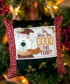FREEBIE December Printable by The Wooden Bear. Pillow ornament using EQ Printables Inkjet Fabric Sheets. Printable Fabric, Printable Stickers, Small Sewing Projects, Sewing Ideas, Pin Cushions, Pillows, Christmas Stockings, Christmas Ornaments, Bear Design