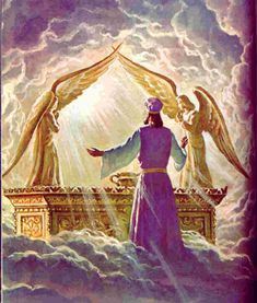 The High priest seeks Yahweh in prayer before the Ark of the Covenant where God's presence rests above the Mercy Seat between the Golden Cherubim. Bible Pictures, Jesus Pictures, Film Le Secret, Arc Of The Covenant, Melchizedek Priesthood, Arte Judaica, Bible Illustrations, Prophetic Art, Jesus Art