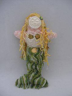Mermaid beaded art doll by Sue Swayzee