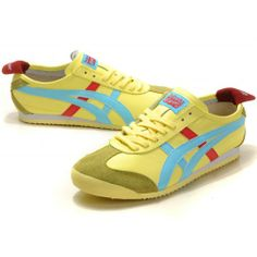 457f2f22eec Onitsuka Tiger ASNO769 Mexico Shoes Light Yellow Light Blue Red