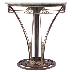 French Art Deco Wrought Iron End Table | From a unique collection of antique and modern end tables at https://www.1stdibs.com/furniture/tables/end-tables/