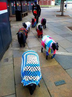 Shepherd and Sheep -- great yarn bomb!
