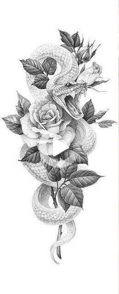 The sweetness of the rose and the temptation of the snake, here is a unique tattoo. Thigh Sleeve Tattoo, Thigh Piece Tattoos, Rose Tattoo Thigh, Pieces Tattoo, Leg Tattoos, Body Art Tattoos, Sleeve Tattoos, Tattos, 3 Roses Tattoo