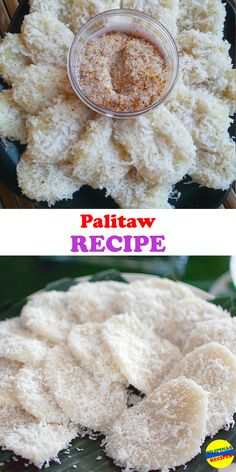 Making Palitaw is very simple. The ingredients are glutinous rice flour and water. The amount of water should just be right to form pliable dough that is not too dry or not too runny. Adding more glutinous rice flour or water can adjust the consistency of the dough.