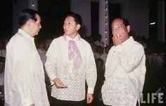 Former president Diosdado Macapagal, President Ferdinand E. Marcos, and former president Carlos P. Garcia