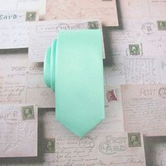 Mint Green Mens Tie With Matching Pocket Square Pastel Mint Green Necktie. Wedding Ties With Matching Pocket Square Set Mint Tie, Peach Tie, Pastel Mint, Pastel Hair, Dark Gray Suit, Grey Suits, Dark Grey, Skinny Suits, Wedding Ties
