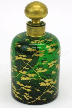 MOSER GLASSWORKS GREEN GLASS PERFUME BOTTLE