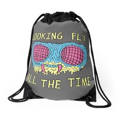 Drawstring bag fly monster retro illustration | Looking Fly by jarhumor