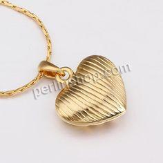 Zinklegierung Schmuck Halskette, mit Verlängerungskettchen von 2lnch, Herz, vergoldet, Boston-Kette & mit Strass & hohl, frei von Nickel und...