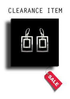 Silver & Austrian Crystal Rectangular Dropper Earrings - BP0224