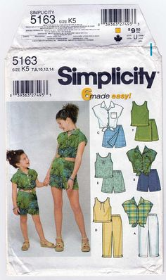 Girl's Sewing Pattern Tank Tops Short Sleeve Shirt