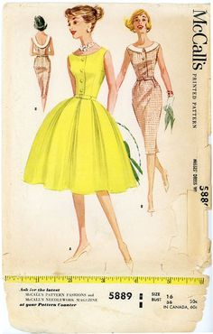1960s Dress Pattern Bust 36 McCalls 5889 Fit and by CynicalGirl