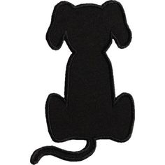 Dog Applique Designs | Sitting Dog Silhouette Applique Design