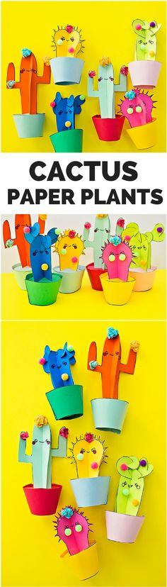 DIY Happy Cactus Plant Craft with Free Printable Templates. Cute desk decor craft :) (Craft via Rosie)