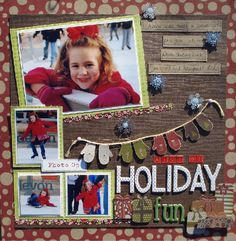 Holiday Fun Scrapbook Page - love the mittens, red polka dots, and wood combo Christmas Scrapbook Layouts, Scrapbook Paper Crafts, Scrapbook Cards, Paper Crafting, Christmas Layout, Scrapbook Photos, Scrapbook Sketches, Scrapbook Page Layouts, Holiday Fun