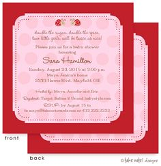 Twin Ladybugs on Pink Invitation:   Unique and Beautiful Baby Shower Invitations by take note! designs. Cards can be used for a birth announcement or baby naming as well, all things celebrating the new baby or baby on the way! Cards are front AND backside printed, making these cards extra special.