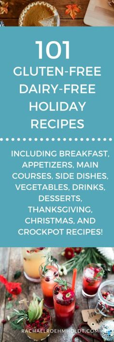 Included in this gluten-free dairy-free recipe roundup are: breakfast appetizers main courses Thanksgiving Christmas crock pot side dishes vegetable drinks and dessert recipes. Click through to check ou Dairy Free Holiday Recipes, Gluten Free Recipes, Celiac Recipes, Cheap Recipes, Diet Recipes, Healthy Recipes, Asian Recipes, Gourmet Recipes, Crockpot Recipes