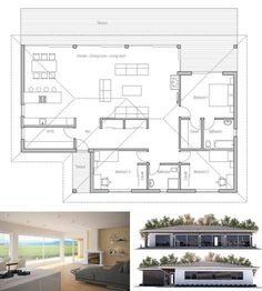 Small house plan in modern architecture. Open planning, three bedrooms, two bathrooms.