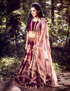 """The Enchanted Beauty"" A stunning image captured during one of our latest photoshoots. Our beautiful model is wearing a gorgeous deep wine velvet lehenga designed by #Wellgroomedinc ✨   #allthingsbridal #indianfashion #wedding #bride #style #fashion #designer #glamour"