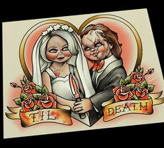 Bride of Chucky, Til Death Do Us Part Art Print Wedding Gift