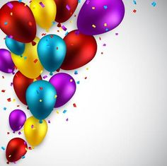 Celebration colorful background with balloons and confetti. Facebook Cover Photos Flowers, Dibujos Pin Up, Birthday Wishes, Happy Birthday, Balloon Illustration, Desktop Background Pictures, Writing Paper, Colorful Backgrounds, Card Making