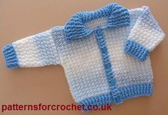 Free crochet pattern for Ribbed Baby cardigan with collar from http://www.patternsforcrochet.co.uk/baby-ribbed-cardigan-usa.html #freecrochetpatterns #patternsforcrochet