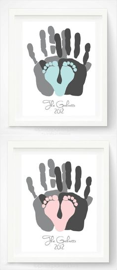 Hand and Footprint Gift Idea via Pitter Platter on Etsy - geschenke baby - Nursery Baby Crafts, Crafts For Kids, Baby Footprint Crafts, Crafts With Babies, Baby Diy Projects, Princess Pinky Girl, Diy Bebe, Everything Baby, Baby Time