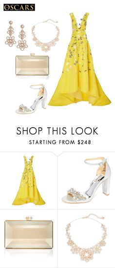"""""""Untitled #1829"""" by nadia-n-pow ❤ liked on Polyvore featuring Monique Lhuillier, Badgley Mischka, Judith Leiber and Kate Spade"""