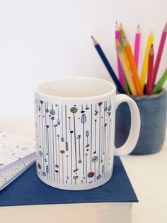 Mug Tea Coffee Cup Ceramic Striped Nature Illustration Pattern Pretty. £8.50, via Etsy.