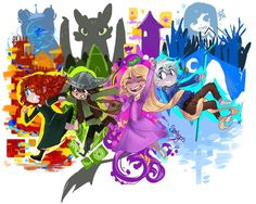 The Big Four as kids! This is so colourful and lively it makes me happy