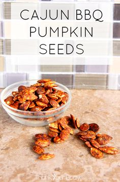 Try these savory, crunchy Cajun bbq pumpkin seeds! Easy to make and healthy, too!