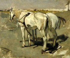 Twee witte paarden, George Hendrik Breitner, circa 1896 | Museum Boijmans Van Beuningen