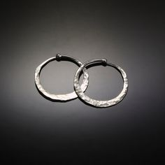 Small Silver Hoop Earrings // Hammered Sterling Silver Sundance Hoop Earrings