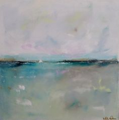 Art inspiration?  Not very large….could mat and frame Blue Grey Turquoise Seascape Painting Original Art - Turquoise Horizon 20 x 20