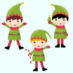 christmas clipart happy elves clip art and digital paper set rh pinterest com elvis clip art elvis clip art free