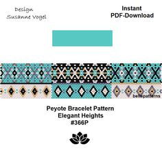 DETAILS: ElegantHeights #366P Peyote bracelet pattern Size: 3,6 cm x 16,9 cm / 1.43 x 6.64 - odd count Beads: Miyuki Delica 11/0 PREVIOUS KNOWLEDGE: Peyote stitch The pattern does not include instructions for how to do the peyote stitch! DOWNLOAD (instantly) - Pattern in PDF format