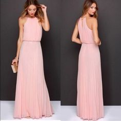 Pink blush maxi dress pleated accordion bridesmaid Long sheer dress with lining. No belt included. Size xs s or m available Dresses Maxi