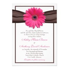 Simple and pretty pink gerbera daisy and brown ribbon wedding invitation. Change it to an orange daisy :)
