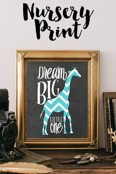 Chevron Giraffe Nursery Art Print