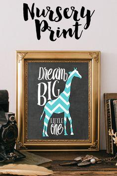 Chevron Giraffe Nursery Art Print Baby Giraffes Safari