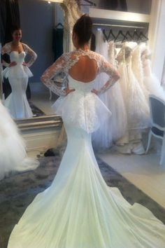 Find More Wedding Dresses Information about Sexy Mermaid Wedding Dresses 2017 White Lace Top Satin Floor Length Bride Wedding Gowns with Jacket Vestido De Renda Casamento  ,High Quality gown evening dress,China gown Suppliers, Cheap dress gray from Sweety-Bridal on Aliexpress.com