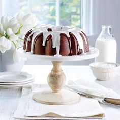 Triple-Chocolate Buttermilk Pound Cake - Our Best Buttermilk Recipes - Southernliving. Recipe: Triple-Chocolate Buttermilk Pound Cake A duo of glazes comes together atop this dreamy confection. Warning: You won't be able to resist a second slice. Chocolate Buttermilk Pound Cake Recipe, Amazing Chocolate Cake Recipe, Buttermilk Recipes, Best Chocolate Cake, Chocolate Desserts, Chocolate Glaze, Delicious Chocolate, Chocolate Morsels, Chocolate Bunny