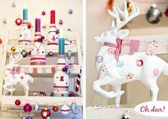 DIY Adventskranz aus Flaschen und Hirsch dekoriert mit Washi Tape