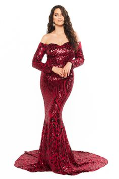 A&N Curve Isidora - Burgundy Sequin Off-Shoulder Long Sleeve Gown Curve Prom Dresses, Evening Dresses Plus Size, Glam Dresses, Plus Size Dresses, Sparkly Dresses, Red Sequin Dress, Sequin Gown, Sequin Fabric, Formal Dress Shops