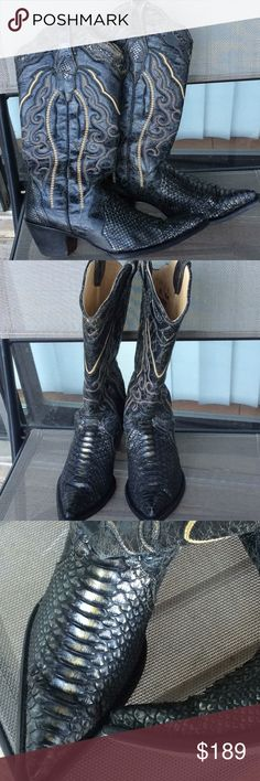 Corral genuine Python cowgirl boots Very dark gray ,great condition corral Shoes