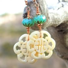 """Unique """"Serenade of the Orient"""" carved bone Oriental symbol handmade beaded earrings with turquoise opal Czech glass beads, copper and sterling silver."""