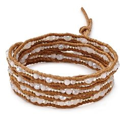 Chan Luu Beaded Wrap Bracelet (€160) ❤ liked on Polyvore featuring jewelry, bracelets, beading jewelry, leather cord wrap bracelet, beads jewellery, polish jewelry and chan luu