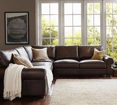 Turner Roll Arm Leather 3-Piece L-Shaped Sectional   Pottery Barn #LeatherSofabrown